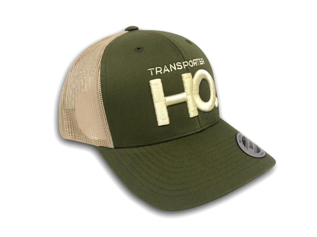 Transporter HQ Retro Trucker Cap in Green and Khaki ...