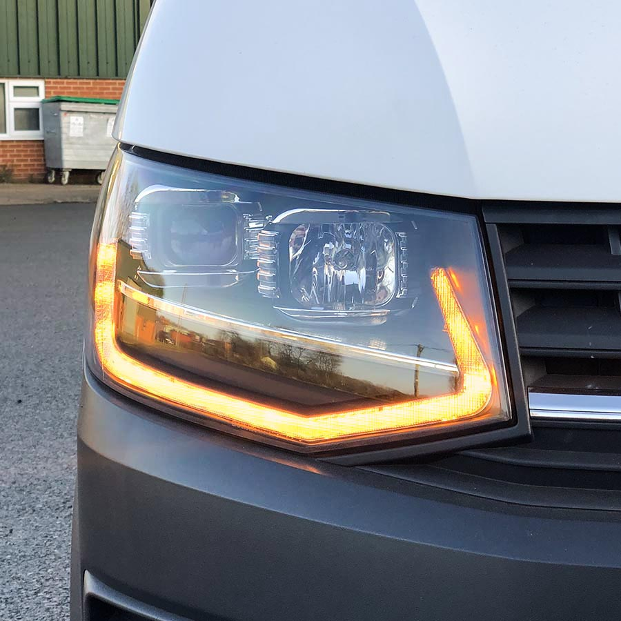 VW T6 LED DRL V3 Headlights - Black   T6 Lights ...